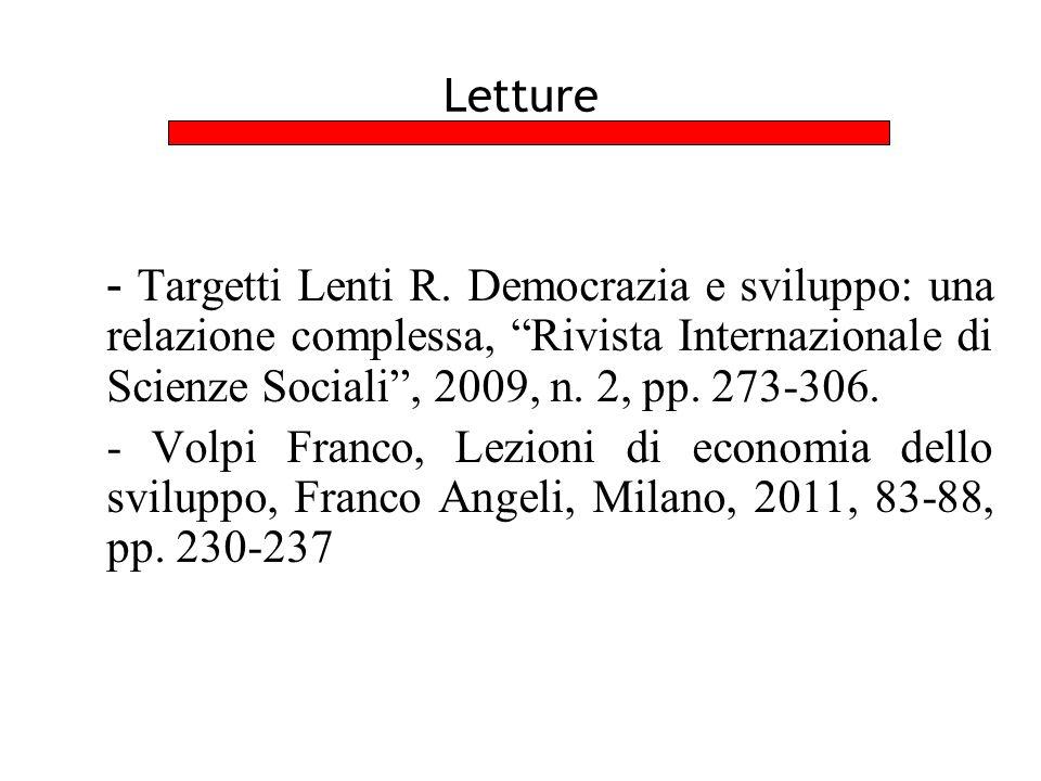 """Letture - Targetti Lenti R. Democrazia e sviluppo: una relazione complessa, """"Rivista Internazionale di Scienze Sociali"""", 2009, n. 2, pp. 273-306. - Vo"""
