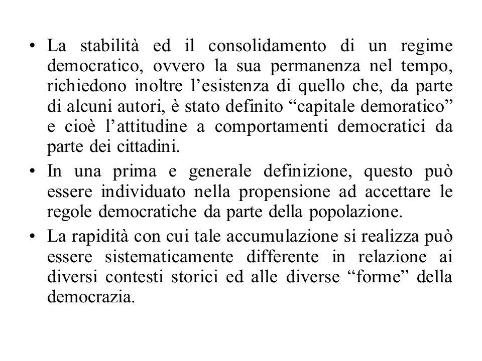La stabilità ed il consolidamento di un regime democratico, ovvero la sua permanenza nel tempo, richiedono inoltre l'esistenza di quello che, da parte