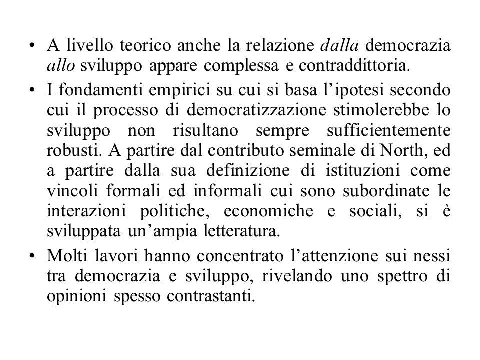 A livello teorico anche la relazione dalla democrazia allo sviluppo appare complessa e contraddittoria. I fondamenti empirici su cui si basa l'ipotesi