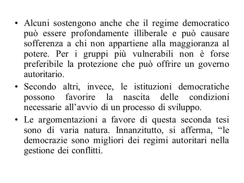 Alcuni sostengono anche che il regime democratico può essere profondamente illiberale e può causare sofferenza a chi non appartiene alla maggioranza al potere.
