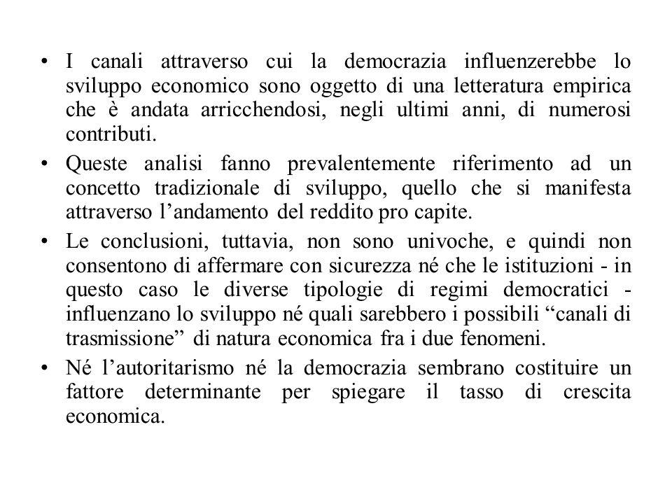 I canali attraverso cui la democrazia influenzerebbe lo sviluppo economico sono oggetto di una letteratura empirica che è andata arricchendosi, negli ultimi anni, di numerosi contributi.