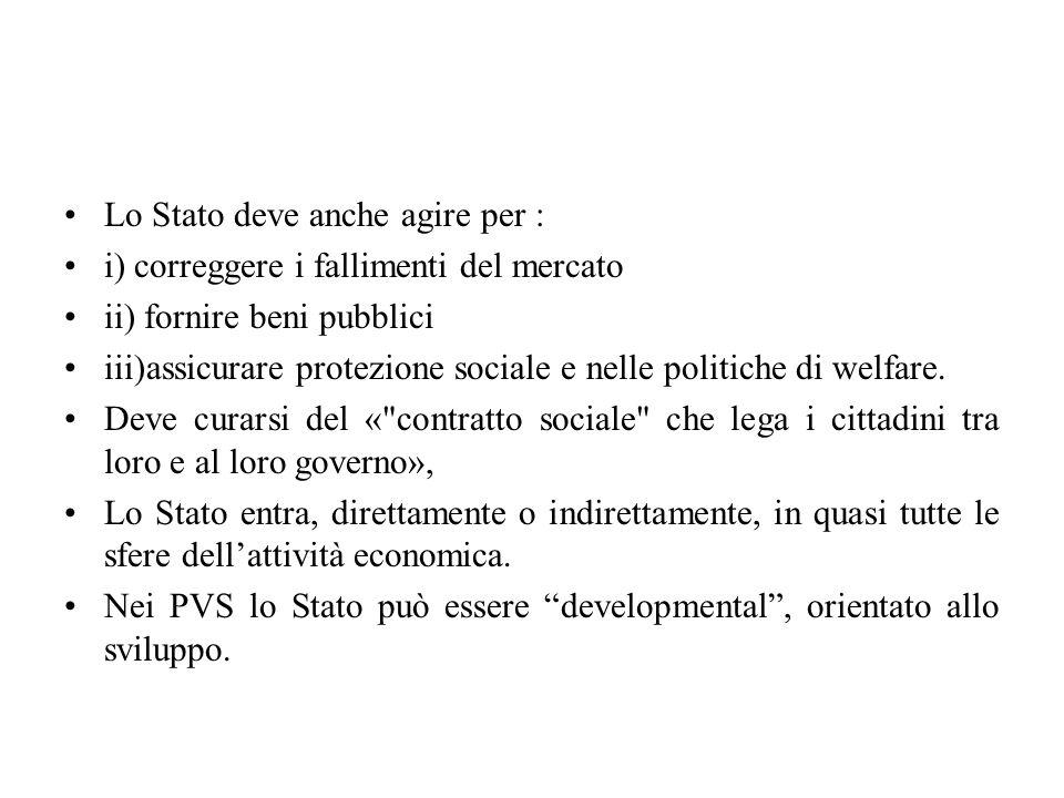 Lo Stato deve anche agire per : i) correggere i fallimenti del mercato ii) fornire beni pubblici iii)assicurare protezione sociale e nelle politiche di welfare.