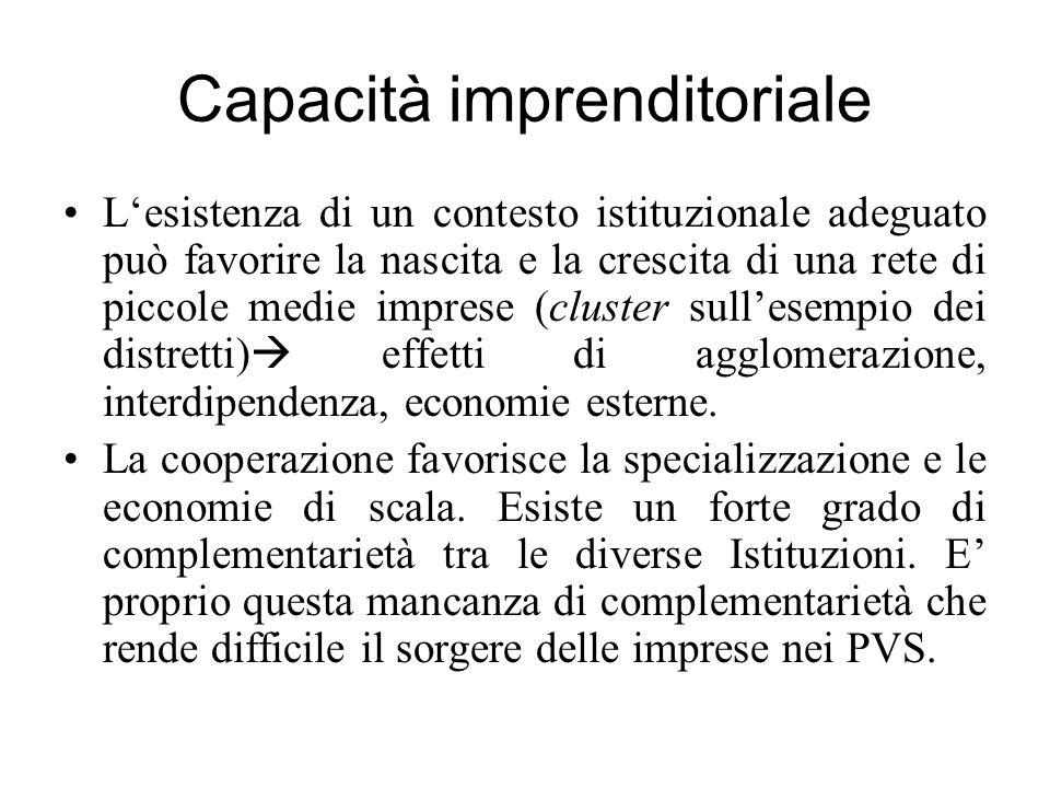 Capacità imprenditoriale L'esistenza di un contesto istituzionale adeguato può favorire la nascita e la crescita di una rete di piccole medie imprese (cluster sull'esempio dei distretti)  effetti di agglomerazione, interdipendenza, economie esterne.