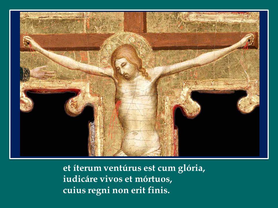 et íterum ventúrus est cum glória, iudicáre vivos et mórtuos, cuius regni non erit finis.