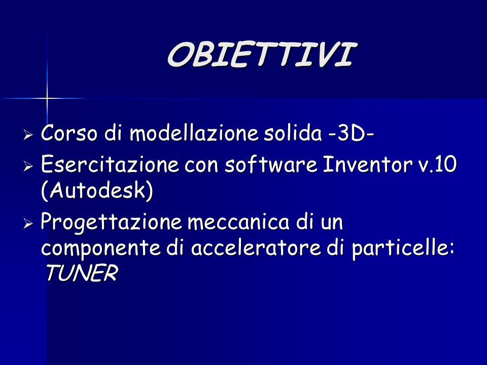 OBIETTIVI  Corso di modellazione solida -3D-  Esercitazione con software Inventor v.10 (Autodesk)  Progettazione meccanica di un componente di acceleratore di particelle: TUNER