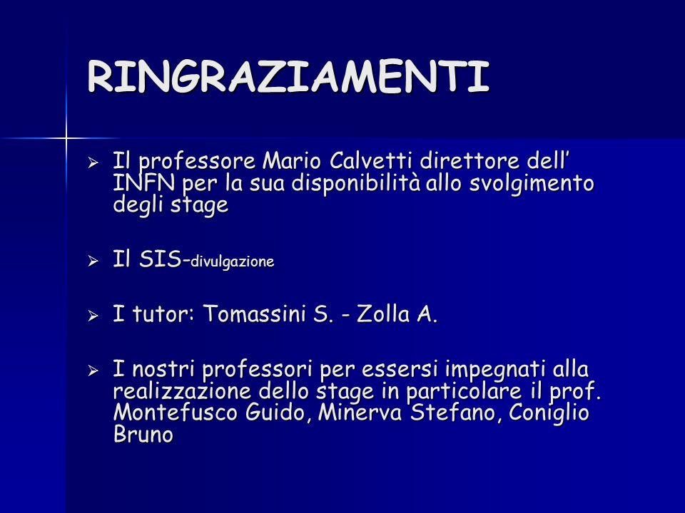 RINGRAZIAMENTI  Il professore Mario Calvetti direttore dell' INFN per la sua disponibilità allo svolgimento degli stage  Il SIS- divulgazione  I tutor: Tomassini S.