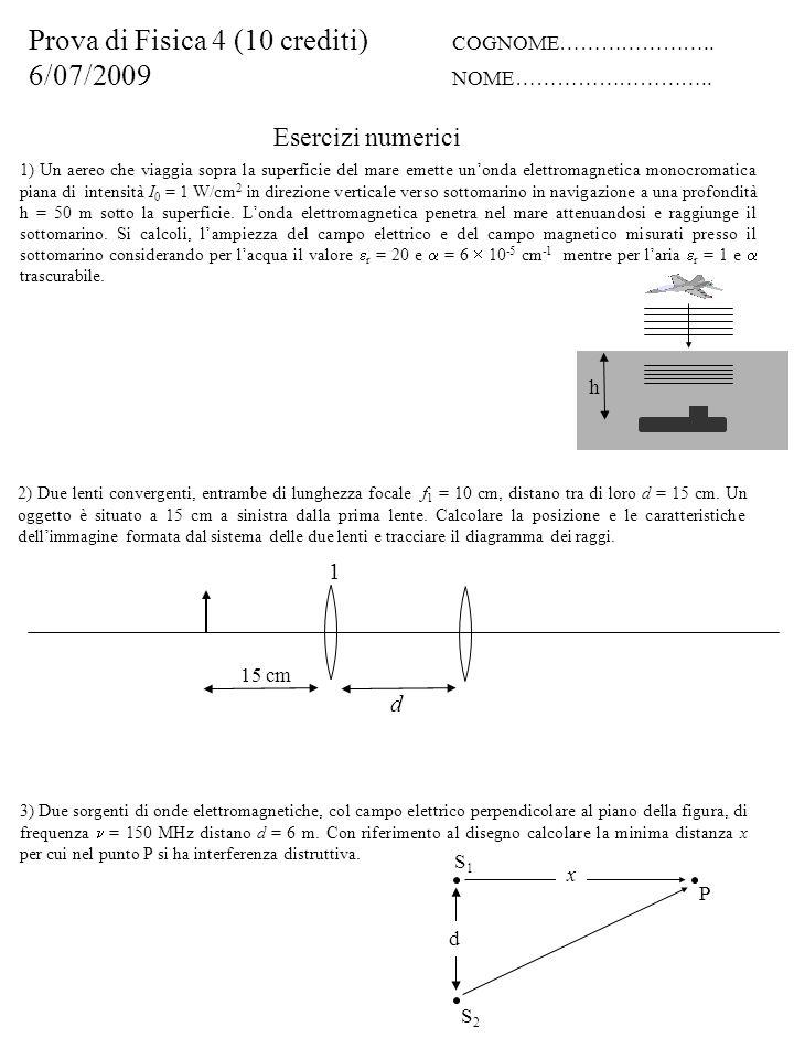 Esercizi numerici Prova di Fisica 4 (10 crediti) COGNOME…………………..