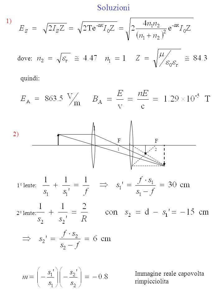 Soluzioni 3) dalla condizione di minimo di interferenza del primo ordine: da cui: