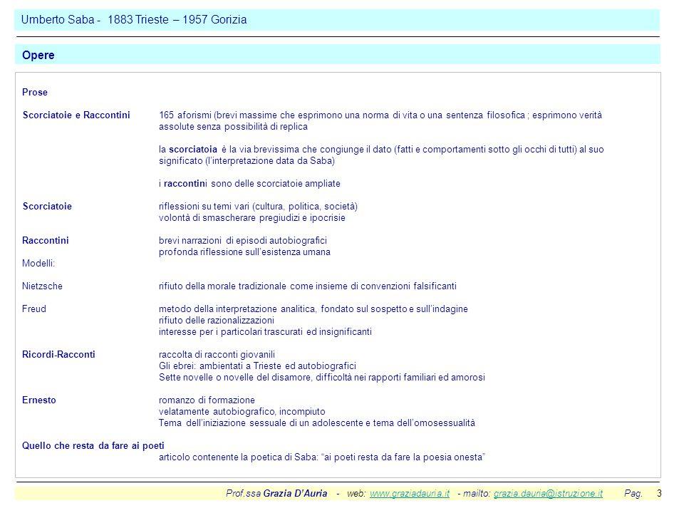 Prof.ssa Grazia D'Auria - web: www.graziadauria.it - mailto: grazia.dauria@istruzione.it Pag. 3www.graziadauria.itgrazia.dauria@istruzione.it Prose Sc