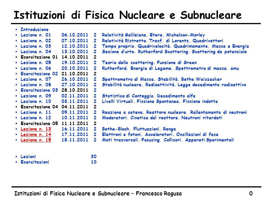 Istituzioni di Fisica Nucleare e Subnucleare – Francesco Ragusa0 Istituzioni di Fisica Nucleare e Subnucleare ŸIntroduzione ŸLezione n. 0106.10.20112R