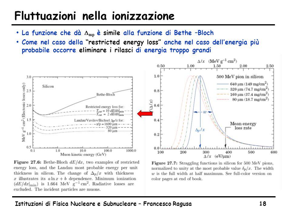 Istituzioni di Fisica Nucleare e Subnucleare – Francesco Ragusa18 Fluttuazioni nella ionizzazione  La funzione che dà  mp è simile alla funzione di Bethe –Bloch ŸCome nel caso della restricted energy loss anche nel caso dell'energia più probabile occorre eliminare i rilasci di energia troppo grandi