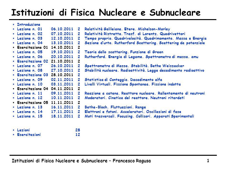 Istituzioni di Fisica Nucleare e Subnucleare – Francesco Ragusa1 Istituzioni di Fisica Nucleare e Subnucleare ŸIntroduzione ŸLezione n. 0106.10.20112R