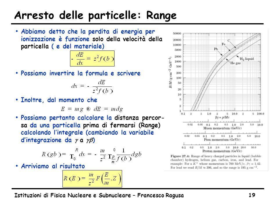 Istituzioni di Fisica Nucleare e Subnucleare – Francesco Ragusa19 Arresto delle particelle: Range ŸAbbiamo detto che la perdita di energia per ionizzazione è funzione solo della velocità della particella ( e del materiale) ŸPossiamo invertire la formula e scrivere ŸInoltre, dal momento che  Possiamo pertanto calcolare la distanza percor- sa da una particella prima di fermarsi (Range) calcolando l'integrale (cambiando la variabile d'integrazione da g a gb ) ŸArriviamo al risultato