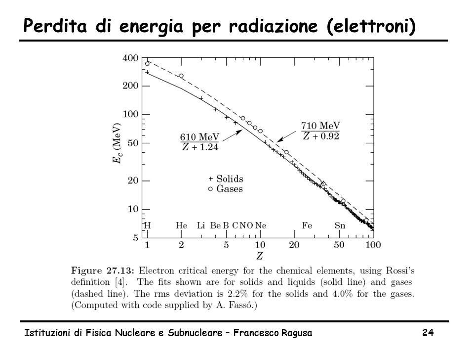 Istituzioni di Fisica Nucleare e Subnucleare – Francesco Ragusa24 Perdita di energia per radiazione (elettroni)
