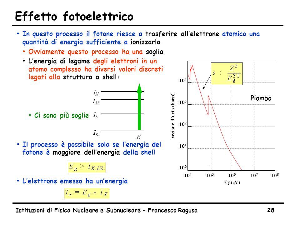 Istituzioni di Fisica Nucleare e Subnucleare – Francesco Ragusa28 Effetto fotoelettrico ŸIn questo processo il fotone riesce a trasferire all'elettrone atomico una quantità di energia sufficiente a ionizzarlo ŸOvviamente questo processo ha una soglia ŸL'energia di legame degli elettroni in un atomo complesso ha diversi valori discreti legati alla struttura a shell: ŸCi sono più soglie ŸIl processo è possibile solo se l'energia del fotone è maggiore dell'energia della shell ŸL'elettrone emesso ha un'energia sezione d'urto (barn)                   E  (eV) Piombo IKIK ILIL IMIM ININ E