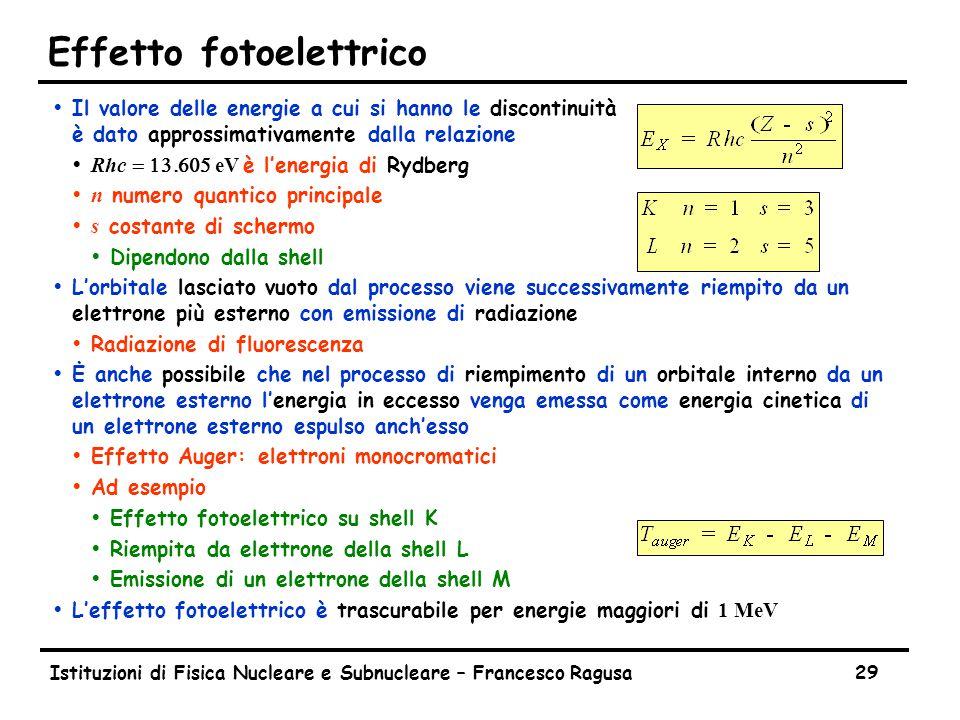 Istituzioni di Fisica Nucleare e Subnucleare – Francesco Ragusa29 Effetto fotoelettrico ŸIl valore delle energie a cui si hanno le discontinuità è dato approssimativamente dalla relazione  Rhc  eV è l'energia di Rydberg  n numero quantico principale  s costante di schermo ŸDipendono dalla shell ŸL'orbitale lasciato vuoto dal processo viene successivamente riempito da un elettrone più esterno con emissione di radiazione ŸRadiazione di fluorescenza ŸĖ anche possibile che nel processo di riempimento di un orbitale interno da un elettrone esterno l'energia in eccesso venga emessa come energia cinetica di un elettrone esterno espulso anch'esso ŸEffetto Auger: elettroni monocromatici ŸAd esempio ŸEffetto fotoelettrico su shell K ŸRiempita da elettrone della shell L ŸEmissione di un elettrone della shell M  L'effetto fotoelettrico è trascurabile per energie maggiori di 1 MeV