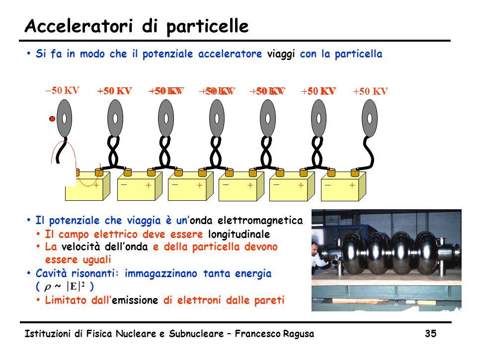Istituzioni di Fisica Nucleare e Subnucleare – Francesco Ragusa35 Acceleratori di particelle ŸSi fa in modo che il potenziale acceleratore viaggi con