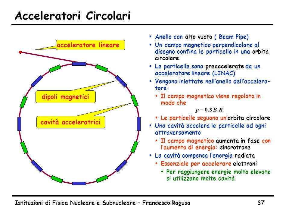 Istituzioni di Fisica Nucleare e Subnucleare – Francesco Ragusa37 Acceleratori Circolari ŸAnello con alto vuoto ( Beam Pipe) ŸUn campo magnetico perpendicolare al disegno confina le particelle in una orbita circolare ŸLe particelle sono preaccelerate da un acceleratore lineare (LINAC) ŸVengono iniettate nell'anello dell'accelera- tore:  Il campo magnetico viene regolato in modo che p = 0.3 B  R ŸLe particelle seguono un'orbita circolare ŸUna cavità accelera le particelle ad ogni attraversamento ŸIl campo magnetico aumenta in fase con l'aumento di energia: sincrotrone ŸLa cavità compensa l'energia radiata ŸEssenziale per accelerare elettroni ŸPer raggiungere energie molto elevate si utilizzano molte cavità acceleratore lineare cavità acceleratrici dipoli magnetici