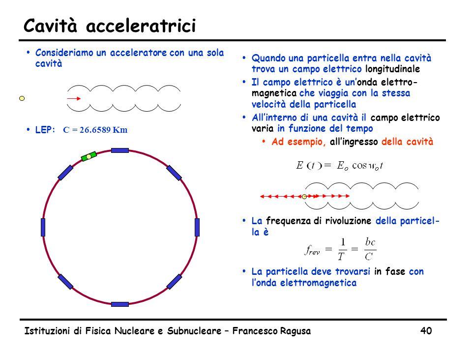 Istituzioni di Fisica Nucleare e Subnucleare – Francesco Ragusa40 Cavità acceleratrici ŸConsideriamo un acceleratore con una sola cavità  LEP: C = 26.6589 Km Ÿ Quando una particella entra nella cavità trova un campo elettrico longitudinale Ÿ Il campo elettrico è un'onda elettro- magnetica che viaggia con la stessa velocità della particella Ÿ All'interno di una cavità il campo elettrico varia in funzione del tempo ŸAd esempio, all'ingresso della cavità Ÿ La frequenza di rivoluzione della particel- la è Ÿ La particella deve trovarsi in fase con l'onda elettromagnetica