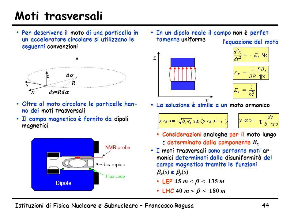 Istituzioni di Fisica Nucleare e Subnucleare – Francesco Ragusa44 Moti trasversali ŸPer descrivere il moto di una particella in un acceleratore circolare si utilizzano le seguenti convenzioni ŸOltre al moto circolare le particelle han- no dei moti trasversali ŸIl campo magnetico è fornito da dipoli magnetici Ÿ In un dipolo reale il campo non è perfet- tamente uniforme Ÿ La soluzione è simile a un moto armonico  Considerazioni analoghe per il moto lungo z determinato dalla componente B x  I moti trasversali sono pertanto moti ar- monici determinati dalle disuniformità del campo magnetico tramite le funzioni b x (s) e b y (s)  LEP 45 m < b < 135 m  LHC 40 m < b < 180 m x z x z s dada ds=Rda R l'equazione del moto