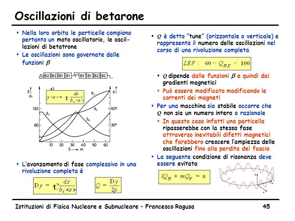 Istituzioni di Fisica Nucleare e Subnucleare – Francesco Ragusa45 Oscillazioni di betarone ŸNella loro orbita le particelle compiono pertanto un moto oscillatorio, le oscil- lazioni di betatrone  Le oscillazioni sono governate dalle funzioni b ŸL'avanzamento di fase complessivo in una rivoluzione completa è  Q è detto tune (orizzontale o verticale) e rappresenta il numero delle oscillazioni nel corso di una rivoluzione completa  Q dipende dalle funzioni b e quindi dai gradienti magnetici ŸPuò essere modificato modificando le correnti dei magneti  Per una macchina sia stabile occorre che Q non sia un numero intero o razionale ŸIn questo caso infatti una particella ripasserebbe con la stessa fase attraverso inevitabili difetti magnetici che farebbero crescere l'ampiezza delle oscillazioni fino alla perdita del fascio Ÿ La seguente condizione di risonanza deve essere evitata