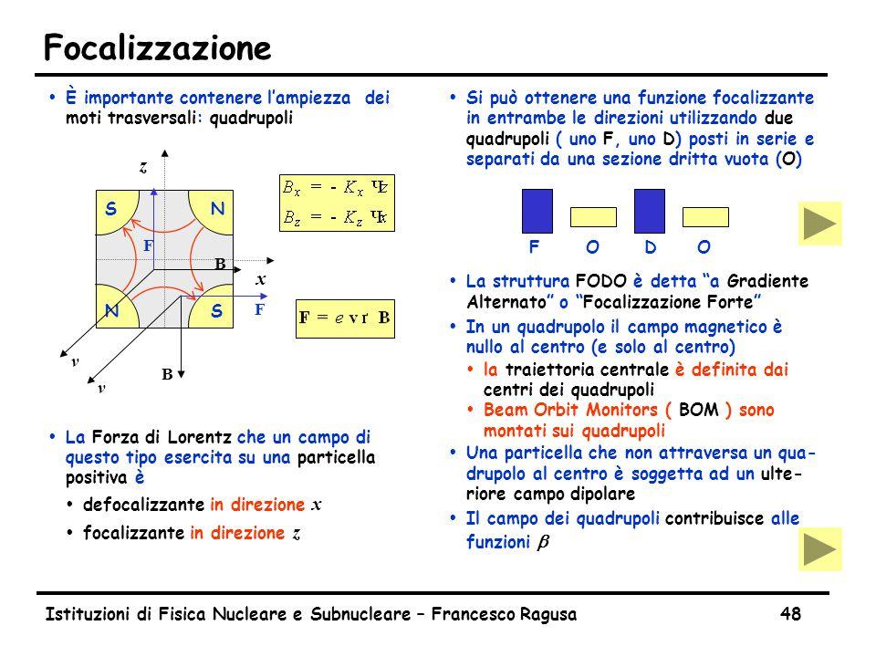 Istituzioni di Fisica Nucleare e Subnucleare – Francesco Ragusa48 Focalizzazione ŸÈ importante contenere l'ampiezza dei moti trasversali: quadrupoli ŸLa Forza di Lorentz che un campo di questo tipo esercita su una particella positiva è  defocalizzante in direzione x  focalizzante in direzione z Ÿ Si può ottenere una funzione focalizzante in entrambe le direzioni utilizzando due quadrupoli ( uno F, uno D) posti in serie e separati da una sezione dritta vuota (O) Ÿ La struttura FODO è detta a Gradiente Alternato o Focalizzazione Forte Ÿ In un quadrupolo il campo magnetico è nullo al centro (e solo al centro) Ÿla traiettoria centrale è definita dai centri dei quadrupoli ŸBeam Orbit Monitors ( BOM ) sono montati sui quadrupoli Ÿ Una particella che non attraversa un qua- drupolo al centro è soggetta ad un ulte- riore campo dipolare  Il campo dei quadrupoli contribuisce alle funzioni b S SN N x z v B F v B F FODO