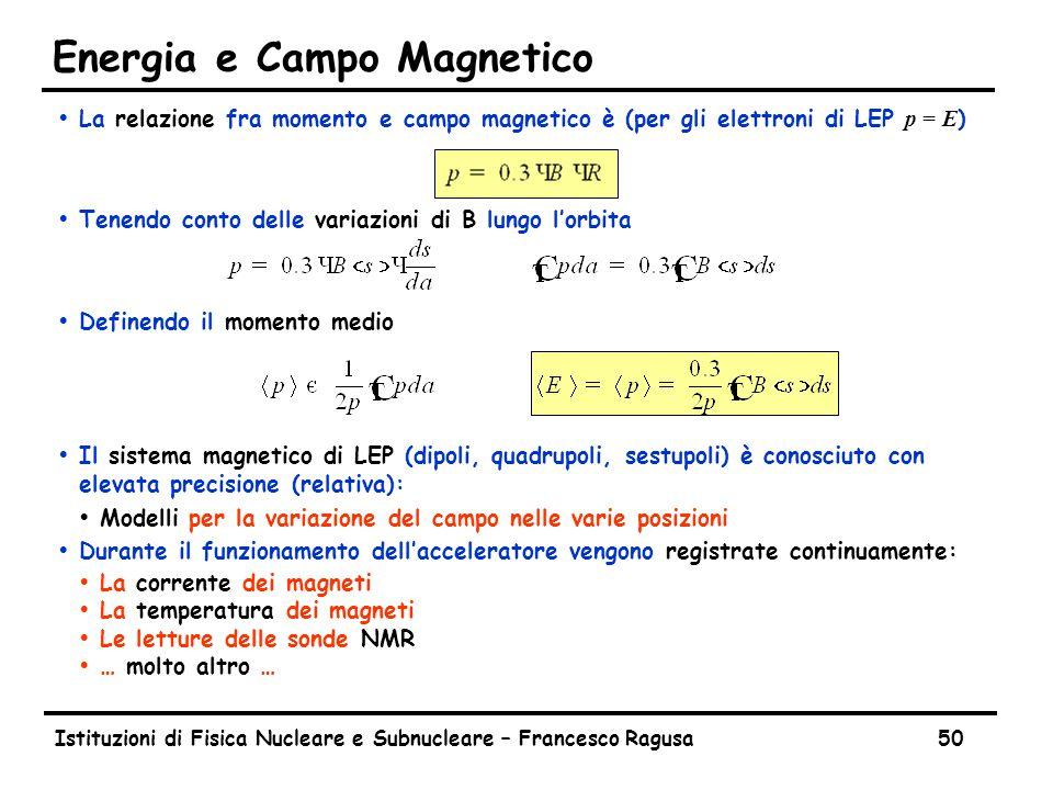Istituzioni di Fisica Nucleare e Subnucleare – Francesco Ragusa50 Energia e Campo Magnetico  La relazione fra momento e campo magnetico è (per gli elettroni di LEP p = E ) ŸTenendo conto delle variazioni di B lungo l'orbita ŸDefinendo il momento medio ŸIl sistema magnetico di LEP (dipoli, quadrupoli, sestupoli) è conosciuto con elevata precisione (relativa): ŸModelli per la variazione del campo nelle varie posizioni ŸDurante il funzionamento dell'acceleratore vengono registrate continuamente: ŸLa corrente dei magneti ŸLa temperatura dei magneti ŸLe letture delle sonde NMR Ÿ… molto altro …