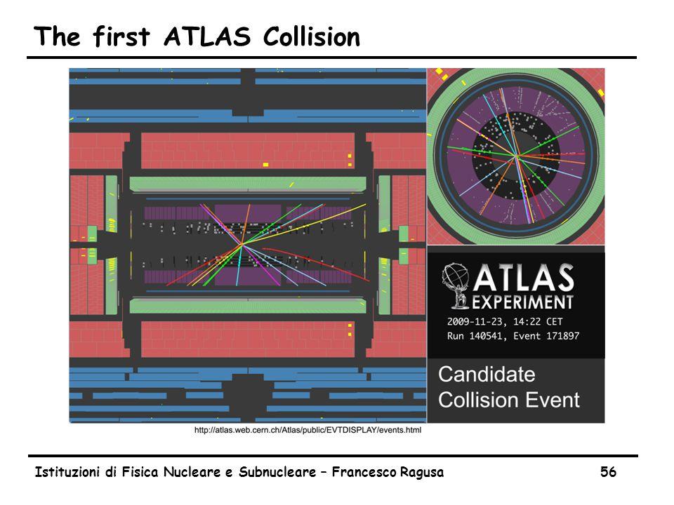 Istituzioni di Fisica Nucleare e Subnucleare – Francesco Ragusa56 The first ATLAS Collision