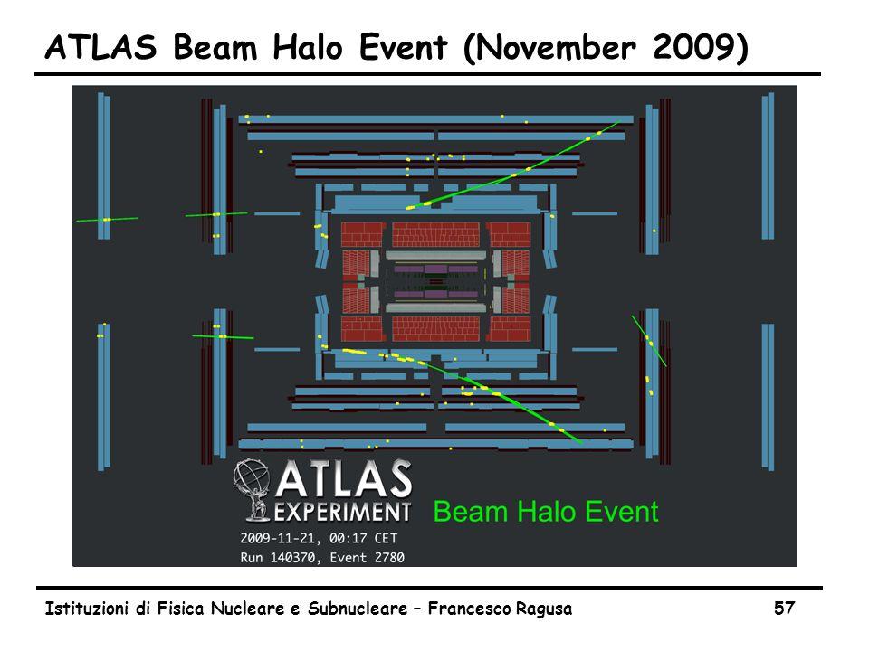 Istituzioni di Fisica Nucleare e Subnucleare – Francesco Ragusa57 ATLAS Beam Halo Event (November 2009)