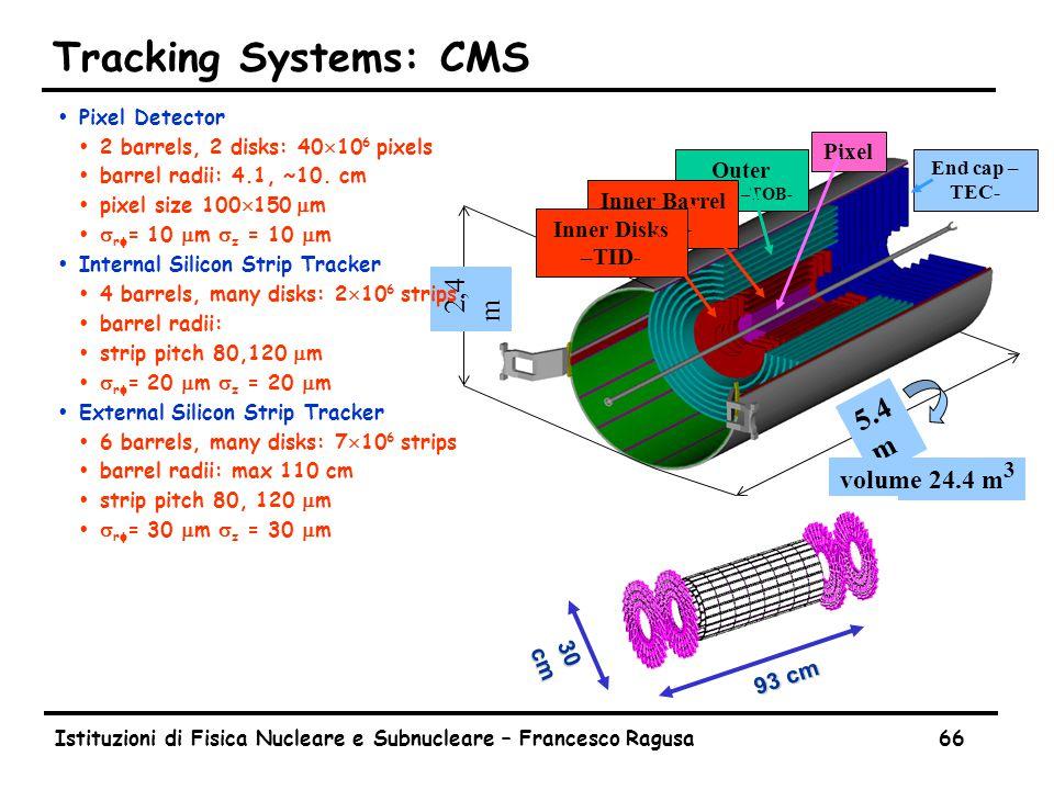 Istituzioni di Fisica Nucleare e Subnucleare – Francesco Ragusa66 Tracking Systems: CMS 5.4 m Outer Barrel –TOB- Inner Barrel –TIB- End cap – TEC- Pixel 2,4 m volume 24.4 m 3 Inner Disks –TID- 93 cm 30 cm ŸPixel Detector Ÿ2 barrels, 2 disks: 40  10 6 pixels Ÿbarrel radii: 4.1, ~10.