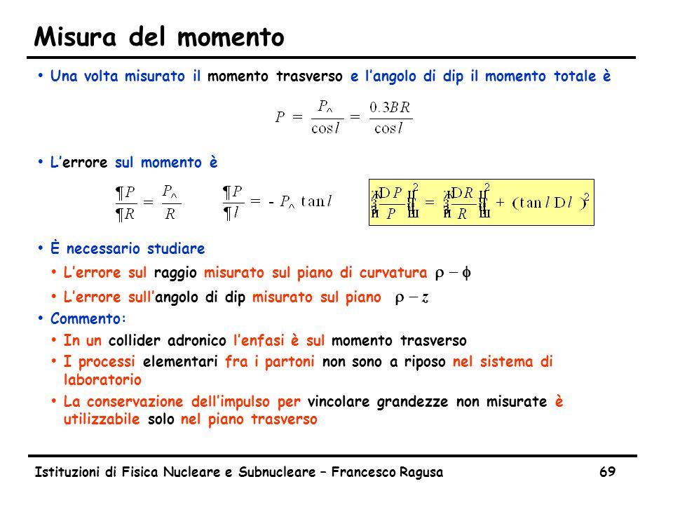 Istituzioni di Fisica Nucleare e Subnucleare – Francesco Ragusa69 Misura del momento ŸUna volta misurato il momento trasverso e l'angolo di dip il momento totale è ŸL'errore sul momento è ŸĖ necessario studiare  L'errore sul raggio misurato sul piano di curvatura  -   L'errore sull'angolo di dip misurato sul piano  - z ŸCommento: ŸIn un collider adronico l'enfasi è sul momento trasverso ŸI processi elementari fra i partoni non sono a riposo nel sistema di laboratorio ŸLa conservazione dell'impulso per vincolare grandezze non misurate è utilizzabile solo nel piano trasverso