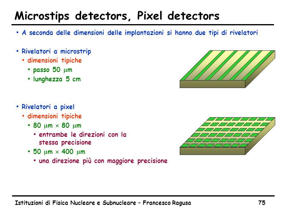 Istituzioni di Fisica Nucleare e Subnucleare – Francesco Ragusa75 Microstips detectors, Pixel detectors ŸA seconda delle dimensioni delle implantazioni si hanno due tipi di rivelatori ŸRivelatori a microstrip Ÿdimensioni tipiche  passo 50  m Ÿlunghezza 5 cm ŸRivelatori a pixel Ÿdimensioni tipiche  80  m  80  m Ÿentrambe le direzioni con la stessa precisione  50  m  400  m Ÿuna direzione più con maggiore precisione