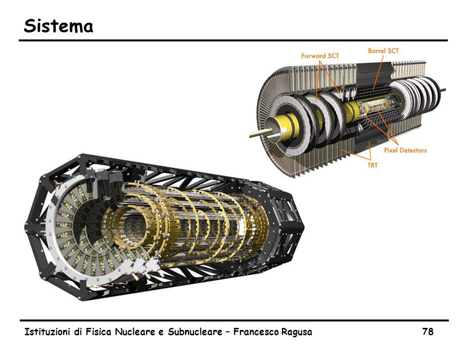 Istituzioni di Fisica Nucleare e Subnucleare – Francesco Ragusa78 Sistema