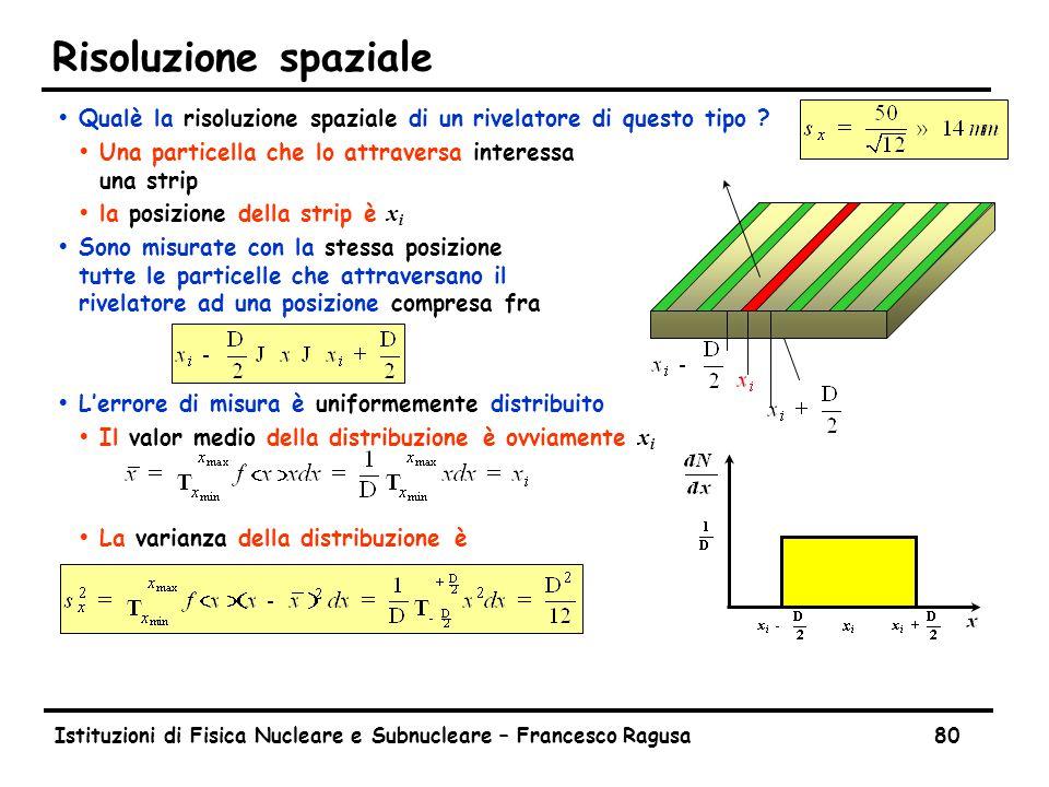 Istituzioni di Fisica Nucleare e Subnucleare – Francesco Ragusa80 Risoluzione spaziale ŸQualè la risoluzione spaziale di un rivelatore di questo tipo .