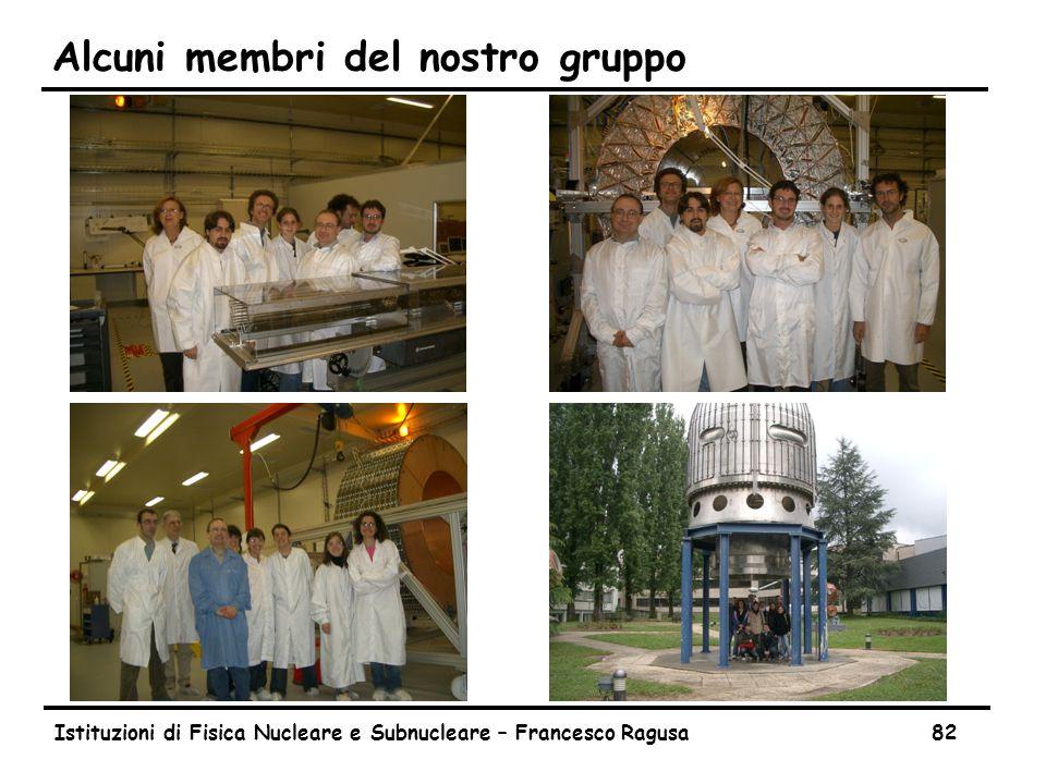 Istituzioni di Fisica Nucleare e Subnucleare – Francesco Ragusa82 Alcuni membri del nostro gruppo