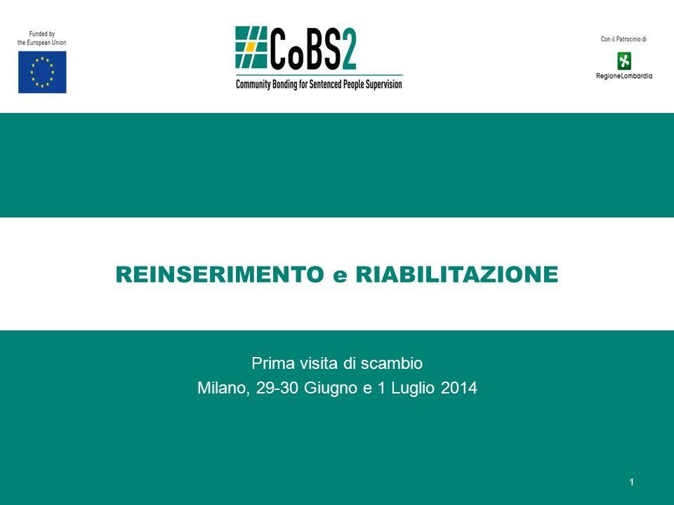 REINSERIMENTO e RIABILITAZIONE Prima visita di scambio Milano, 29-30 Giugno e 1 Luglio 2014 1