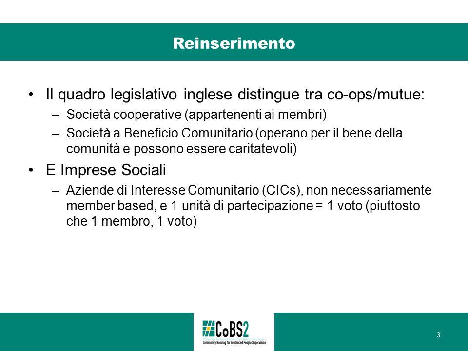 Reinserimento Il quadro legislativo inglese distingue tra co-ops/mutue: –Società cooperative (appartenenti ai membri) –Società a Beneficio Comunitario