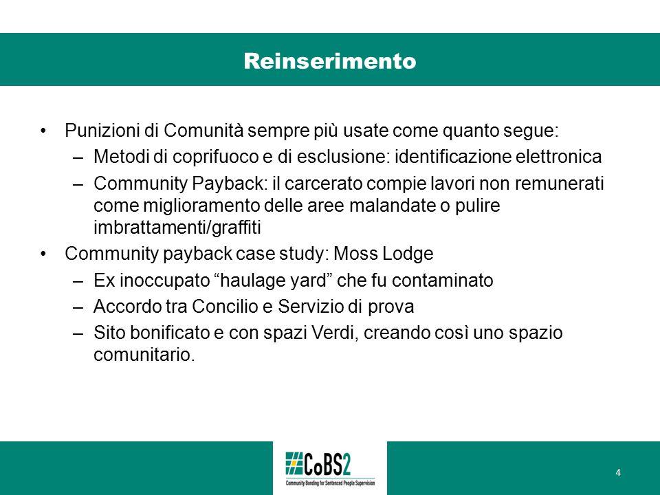 Reinserimento Punizioni di Comunità sempre più usate come quanto segue: –Metodi di coprifuoco e di esclusione: identificazione elettronica –Community