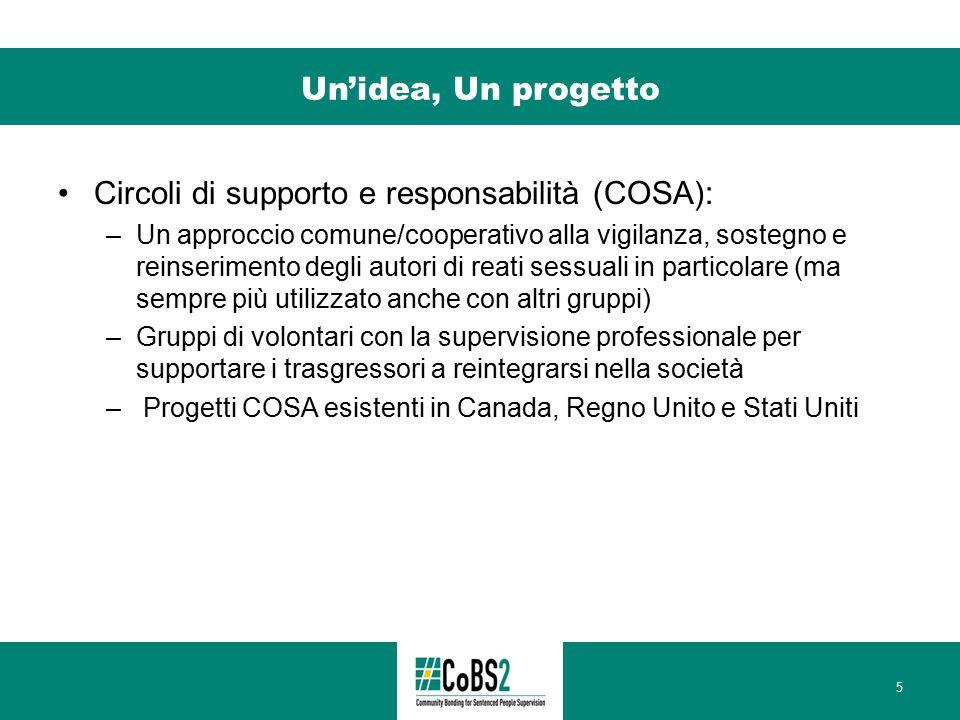 Un'idea, Un progetto Circoli di supporto e responsabilità (COSA): –Un approccio comune/cooperativo alla vigilanza, sostegno e reinserimento degli auto