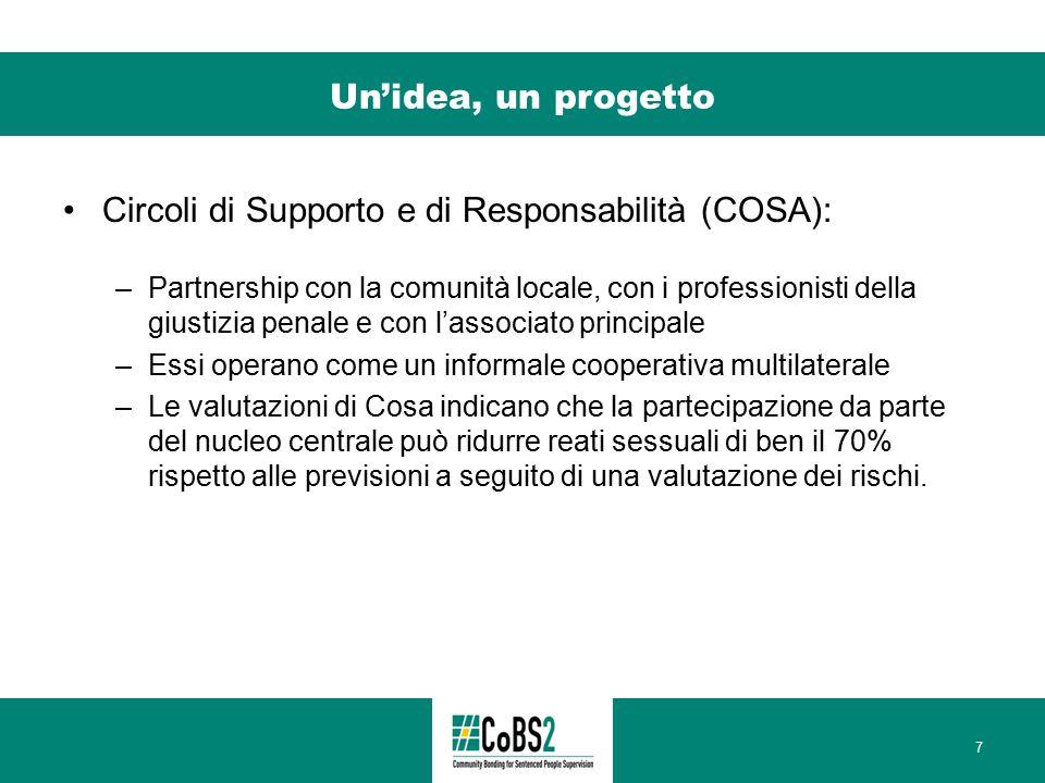 Un'idea, un progetto Circoli di Supporto e di Responsabilità (COSA): –Partnership con la comunità locale, con i professionisti della giustizia penale