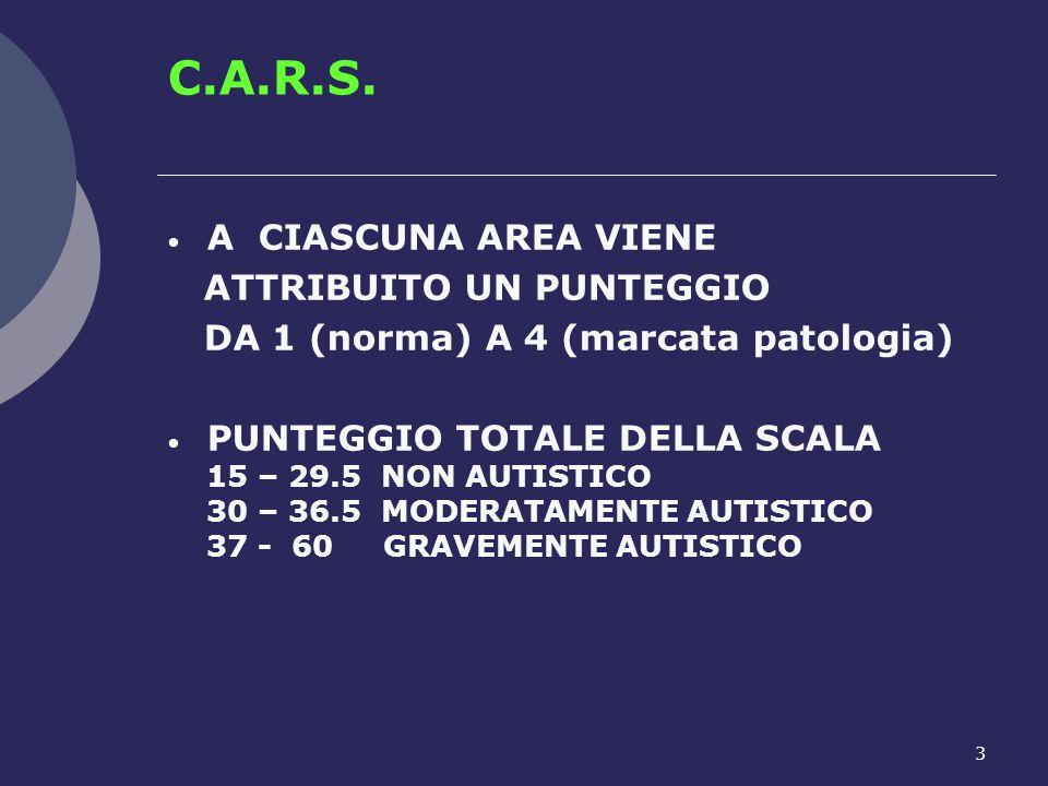 3 C.A.R.S. A CIASCUNA AREA VIENE ATTRIBUITO UN PUNTEGGIO DA 1 (norma) A 4 (marcata patologia) PUNTEGGIO TOTALE DELLA SCALA 15 – 29.5 NON AUTISTICO 30