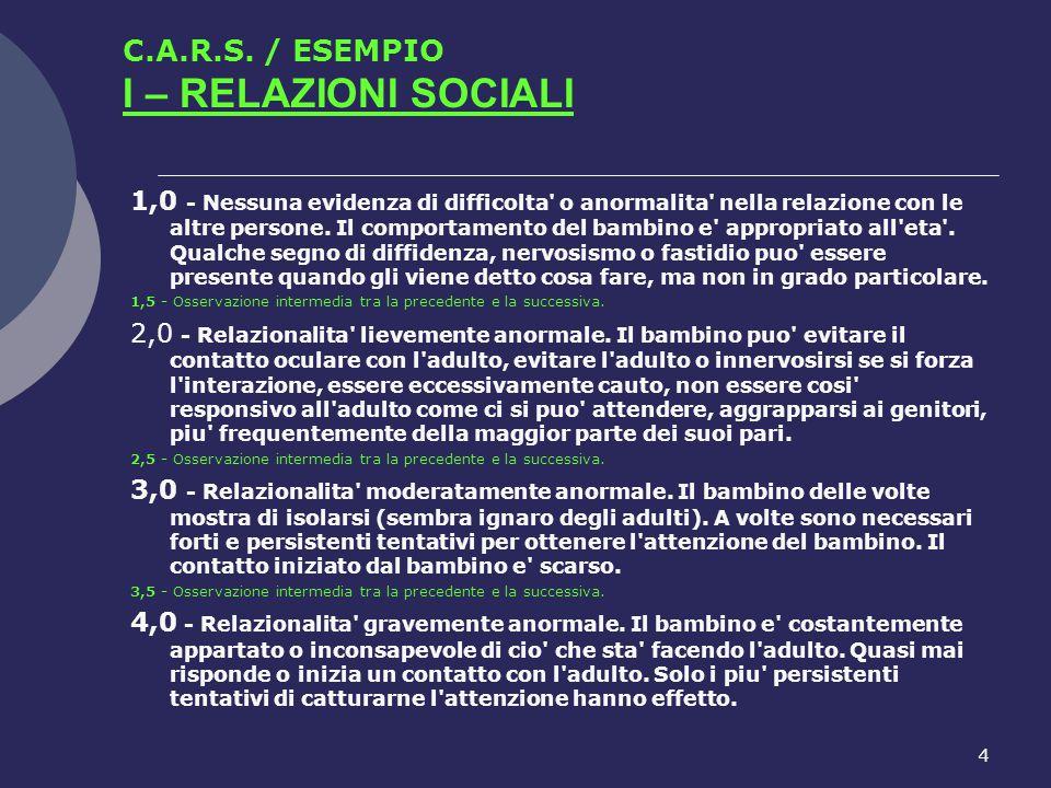4 C.A.R.S. / ESEMPIO I – RELAZIONI SOCIALI 1,0 - Nessuna evidenza di difficolta' o anormalita' nella relazione con le altre persone. Il comportamento