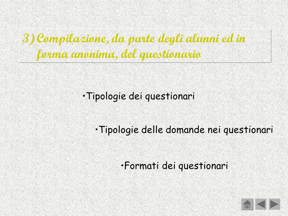 3)Compilazione, da parte degli alunni ed in forma anonima, del questionario Tipologie dei questionari Tipologie delle domande nei questionari Formati