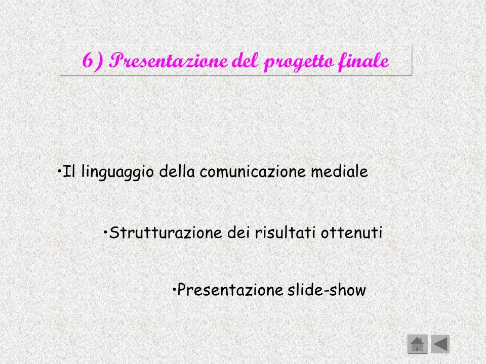 6) Presentazione del progetto finale Il linguaggio della comunicazione mediale Strutturazione dei risultati ottenuti Presentazione slide-show