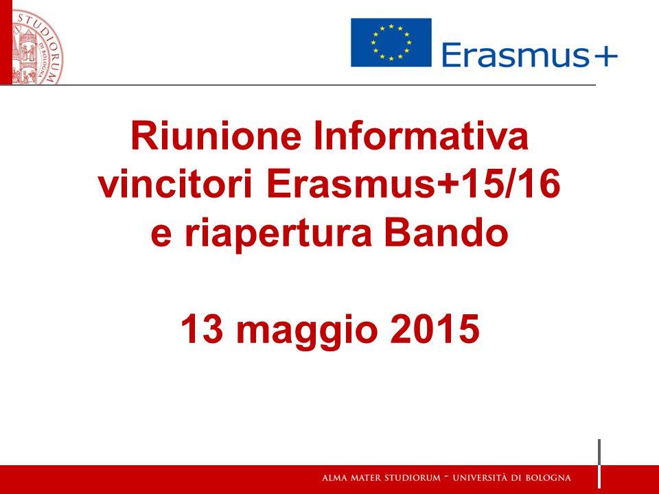 Riunione Informativa vincitori Erasmus+15/16 e riapertura Bando 13 maggio 2015
