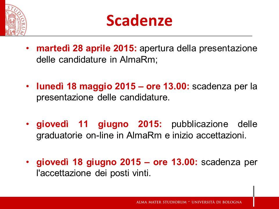 Scadenze martedì 28 aprile 2015: apertura della presentazione delle candidature in AlmaRm; lunedì 18 maggio 2015 – ore 13.00: scadenza per la presentazione delle candidature.