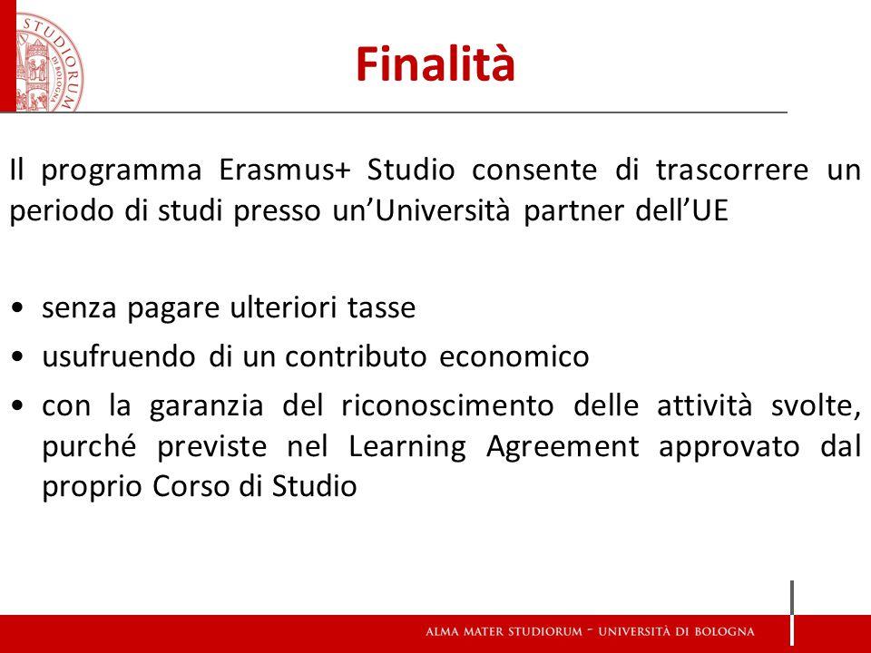 Finalità Il programma Erasmus+ Studio consente di trascorrere un periodo di studi presso un'Università partner dell'UE senza pagare ulteriori tasse usufruendo di un contributo economico con la garanzia del riconoscimento delle attività svolte, purché previste nel Learning Agreement approvato dal proprio Corso di Studio