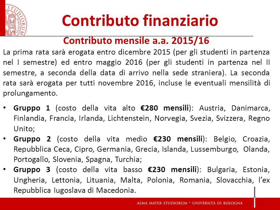 Contributo finanziario Contributo mensile a.a.