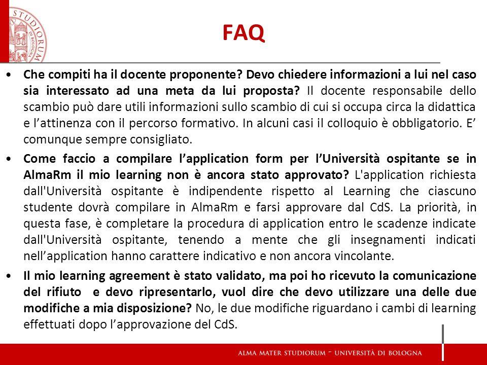 FAQ Che compiti ha il docente proponente.