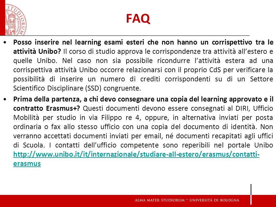 FAQ Posso inserire nel learning esami esteri che non hanno un corrispettivo tra le attività Unibo.